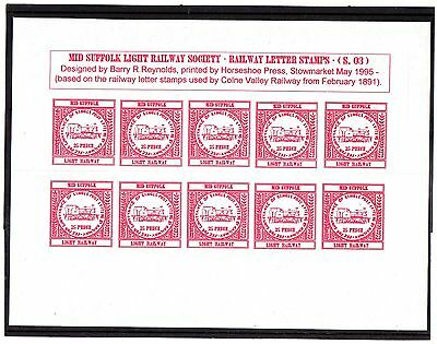 Railway Letter Stamps  Mid Suffolk Light Railway 1995 3rd Issue Full Sheet