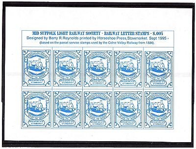 Railway Letter Stamps  Mid Suffolk Light Railway 1995 5th Issue Full Sheet