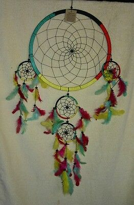 Native American Dreamcatcher Large Size Multi-Coloured With Black Webbing