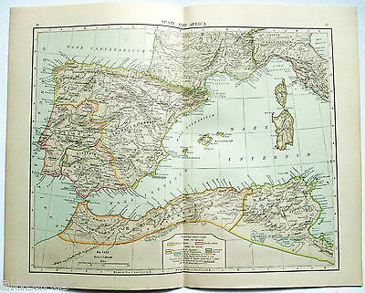 Original 1902 Sanborn's Map of Spain & Northern Africa During Ancient Times