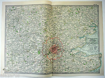 Original 1902 Map of The Vicinity of London, England - A Nicely Detailed Litho