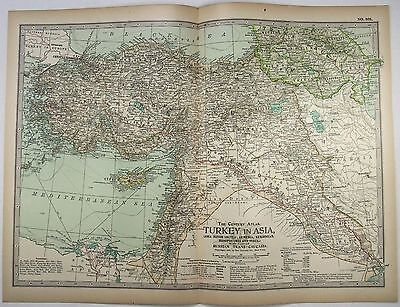 Original 1897 Map of Turkey in Asia -  Including Armenia, Kurdistan & Syria