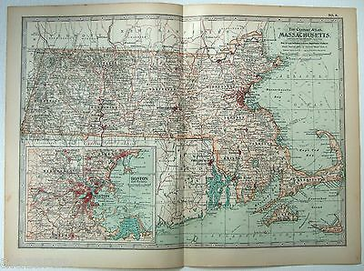 Original 1902 Map of Massachusetts - A Nicely Detailed Color Lithograph