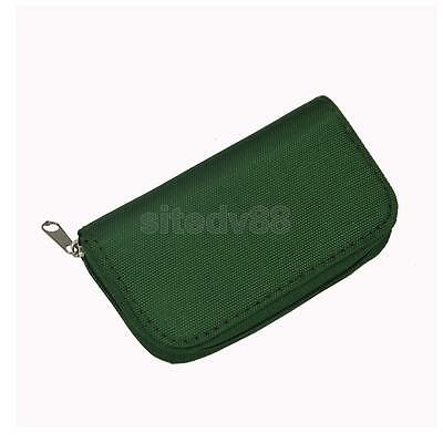 Green 22 Slots SD/CF/XD Micro Memory Card Pouch Case Holder Wallet Bag Box