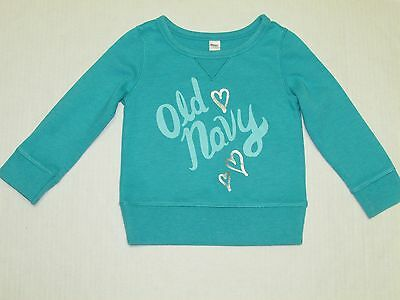 "Girl's ""Old Navy"" Turquoise Blue Long Sleeve Sweat Shirt - Size 3T"