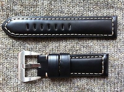 Genuine Leather Officine Panerai strap band 24mm Black with buckle