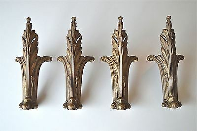 Set of 4 superb antique Regency bronze chest legs commode feet box leg foot
