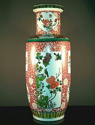 43cm Fine Chinese 19th Antique Famille Verte Iron Red Porcelain Rouleau Vase