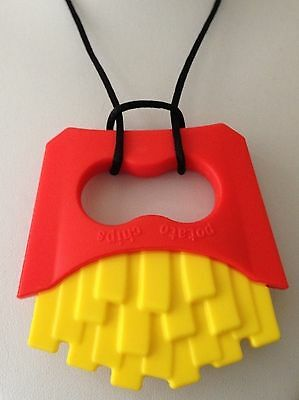 FRIES Pendant Teething Necklace  Silicone Teether Autism Sensory Chewing