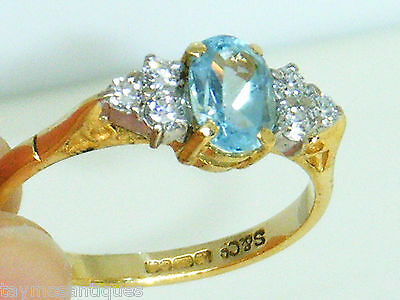 18k Gold 18ct gold  aquamarine and diamond ring size N Boxed Hallmarked