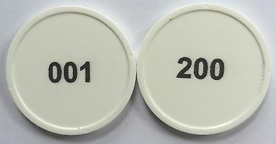 White Plastic Tokens 29Mm Numbered 001-200 In Black Print - Bag Of 200 Cloakroom