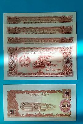 Lot 5 pcs Laos 20 kip in fds-unc