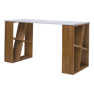 Mobili Rebecca® Computer Desk Table Wood White Brown Modern Office Home