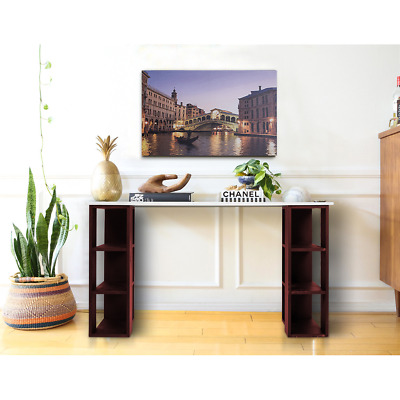 Mobili Rebecca® Table Pc Desk with Shelf Wood White Red Urban Home Office