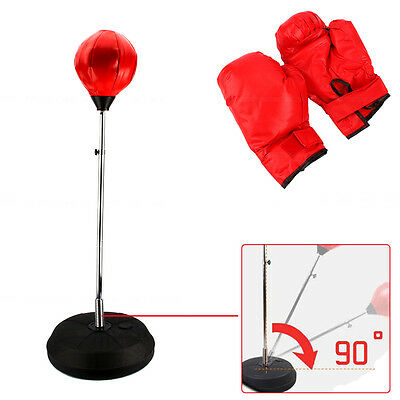 Boxing Free Standing Punch Bag Stand Focus Pads & Gloves Punching Training Set
