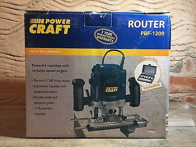 powercraft power craft 1200w router pbf-1200 10 routerbits included - new
