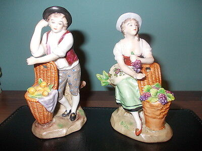 Pair of antique Sitzendorf figurines, flower seller and apple picker. From 99p!!