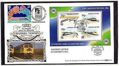 Railway Letter Stamps Official Eurotunnel Commemorative 1994 M/S with O/P Cover