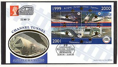 Railway Letter Stamps Eurotunnel M/S June 2001 Cover
