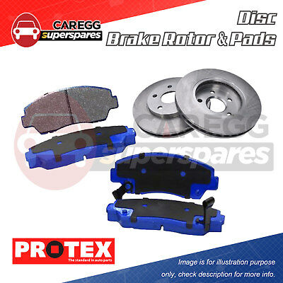 Front Protex Disc Brake Rotors + Pads For HOLDEN Camira JD 1.8L JE 2.0L 84-8/89