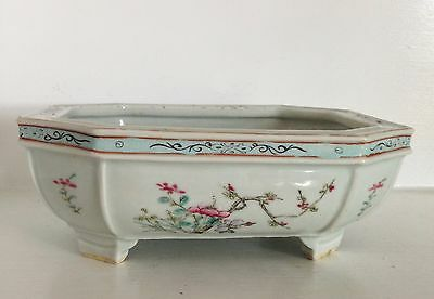 Antique Qing Chinese Footed Porcelain Narcissus Pot Planter Bowl ~Famille Rose~