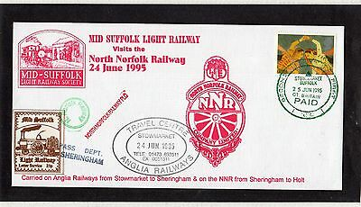 Railway Letter Stamps Mid Suffolk Light Railway Cover 1995