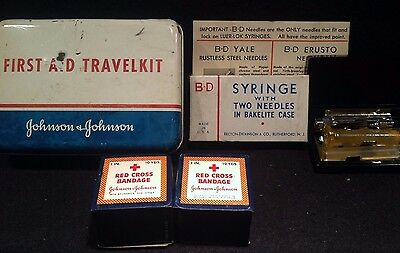 Vintage First Aid Trave Lkit Tin With Bandages & Bd Glass Syringe Lot