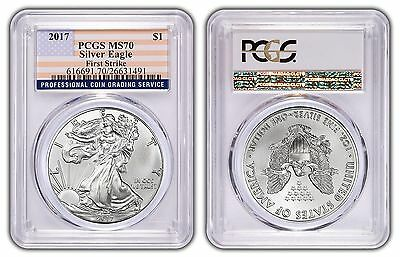 2017 1oz Silver Eagle PCGS MS70 - First Strike - Flag Label