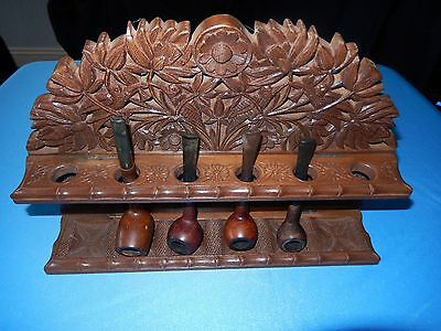 Carved Humming Bird Smoking Pipe Rack With 4 Pipes   Freepost Uk Only