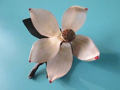 1940's leather flower brooch