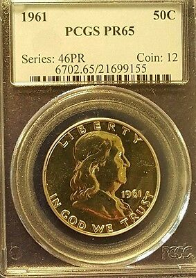 1961 50C Franklin Silver Half Dollar Proof - PR65 by PCGS