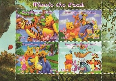 Winnie The Pooh Republique Du Tchad 2015 Mnh Stamp Sheetlet