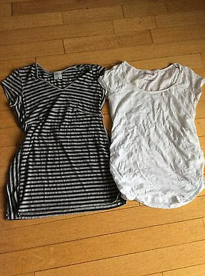 Lot Of 2 Maternity Shirts Tops Motherhood Old Navy Striped White Small ��