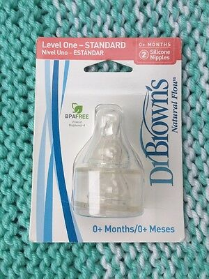 Dr. Brown's Standard Silicone Nipples 2 Pack - Level One For Newborns 0+ Months