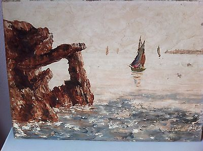Vintage Oil Painting Seascape Cliffs Sail Boats French ? Arnaud ? Signed