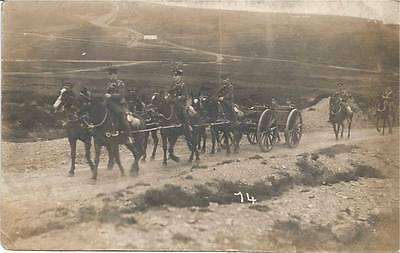 MILITARY HORSE-DRAWN CARRIAGE & SOLDIERS, REAL PHOTOGRAPH POSTCARD, Early 20thc