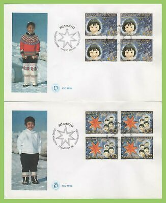 Greenland 1996 Christmas set blocks on two first Day Covers