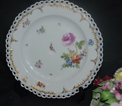 Exquisite Antique KPM Old Berlin Reticulated Porcelain Cabinet Plate Dresden Sty