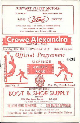 1966 Crewe Alexandra V Coventry City - Fa Cup Fourth Round Football Programme