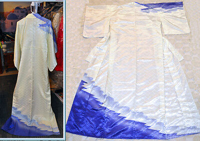Japanese Traditional Long SILK Kimono Woven Handsewn Hand Dyed Ivory Purple