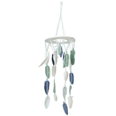 Nautical Beach Theme Hanging Ceramic Feathers Dreamcatcher Blue Green Mobile