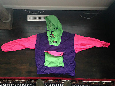 80's 90's Retro Vintage Neon Fluorescent Wind Breaker folds in to fanny pack!