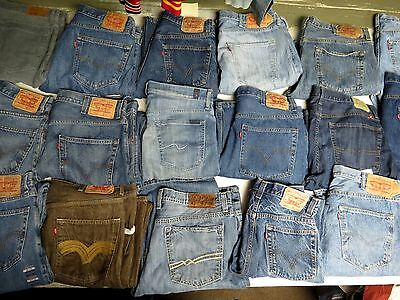 Lot Of 20 Pairs Of Mens Jeans Levis True Lucky 501 505 569 Blue Sizes 38-44