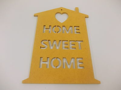 Home Sweet Home Wall Plaque  A3 Mustard Home Decoration House Warming Gift