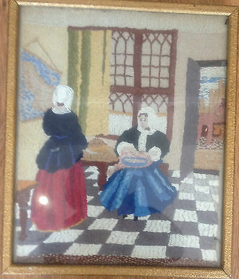 Small framed antique silkwork picture