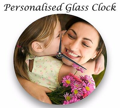 Personalised wall glass clock photo/text/logo printed Mother's Day FriendsFamily