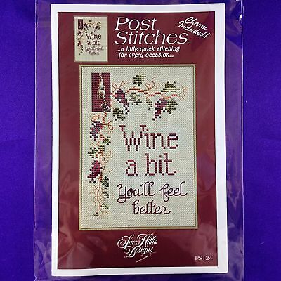 "Cross Stitch Chart ""Wine A Bit You'll Feel Better"" by Sue Hills - Charm Included"