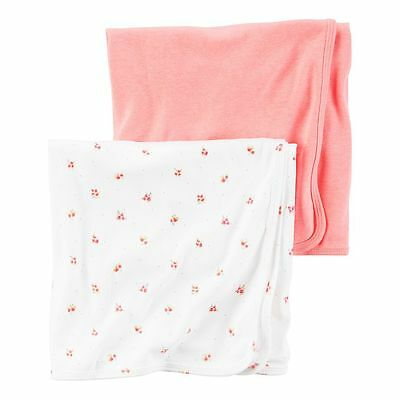 New Carter's Newborn Girl 2 Pack Cotton Swaddle Blankets NWT Neon Pink Floral