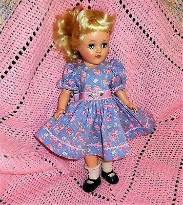 """Carrie's Creations *Pink Roses on Blue* for P90 Toni, MA, or similar 14"""" dolls"""