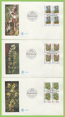 Greenland 1996 Orchids set blocks on three first Day Covers